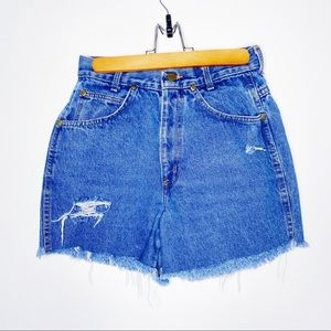 Chic Vintage High Rise Distressed Denim Shorts